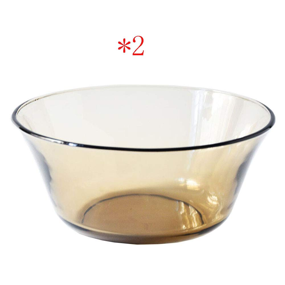 ZH Salad bowl/Fruit bowl/Cereal bowl/Ramen bowl Nordic Tempered glass Transparent Brown Microwave oven 2 bowls 16.97.58cm