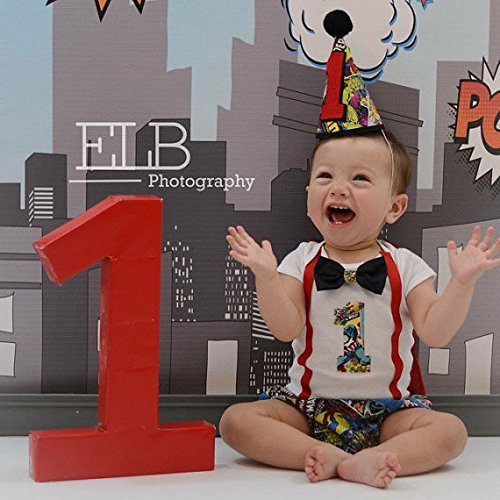 Marvel Superhero Boys First Birthday Outfit Cake Smash Outfit with Cape w/optional Party Hat by Lil Miss Fancy