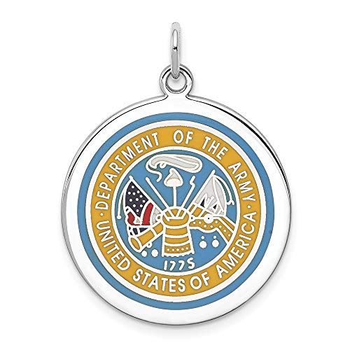 Sterling Silver Rhodium-plated US Army Logo Disc