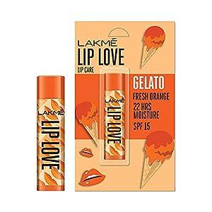 Lakmé Lip Love Gelato Chapstick, Moisturizing Tinted Lip Balm With Spf 15, Crème Finish, 4.5 g – Fresh Orange