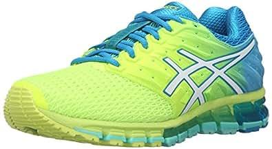 ASICS Women's Gel-Quantum 180 2 Running Shoe, Safety Yellow/White/Blue Jewel, 5 M US