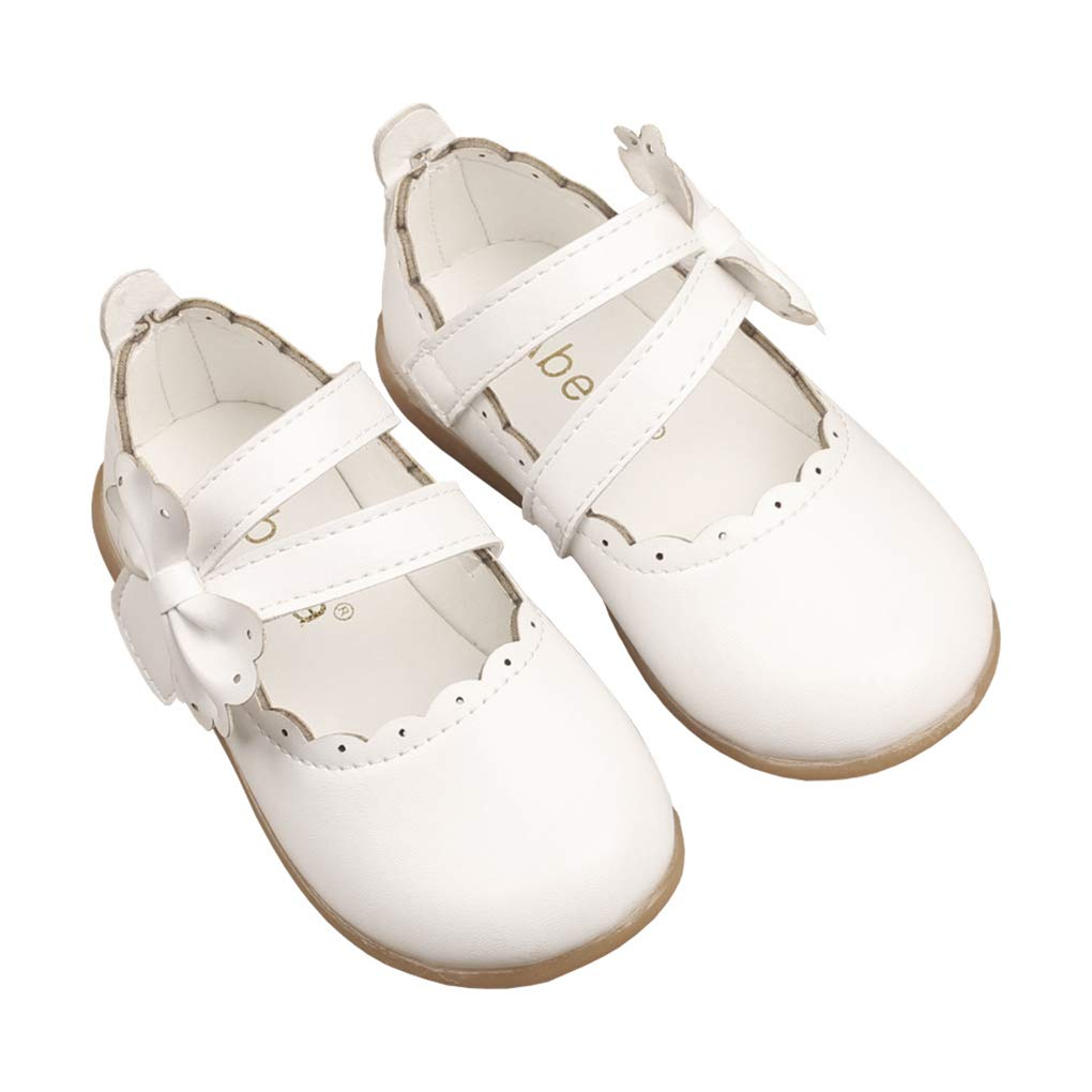 lakiolins Little Girls Floral Trimmed Double Strap with Bowknot Mary Jane Ballet Flats Princess Dress Shoes Beige Size 24