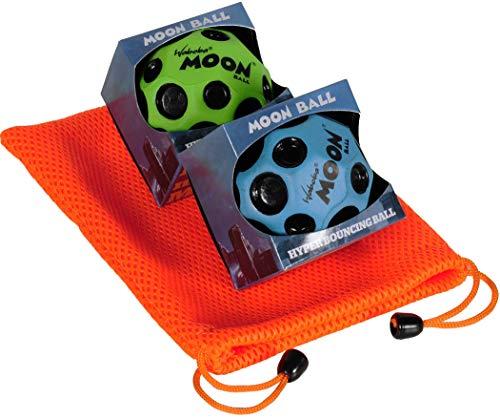 Waboba Moon Balls, Bundle of 2, 1 Blue & 1 Green, with Bonus Orange Mesh Drawstring Pouch || Bundled Items by Waboba (Image #2)