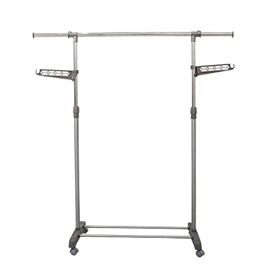 Jusdreen Single Rod Rolling Garment Rack Adjustable Clothes Drying Rack Indoor/Outdoor Telescopic Hanger Hanging Rack - Grey & Electroplate