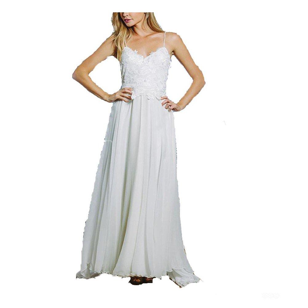 Hippie Wedding Dresses.Fanmu V Neck Chiffon Beach Style Wedding Dress Hippie Bridal Gown At