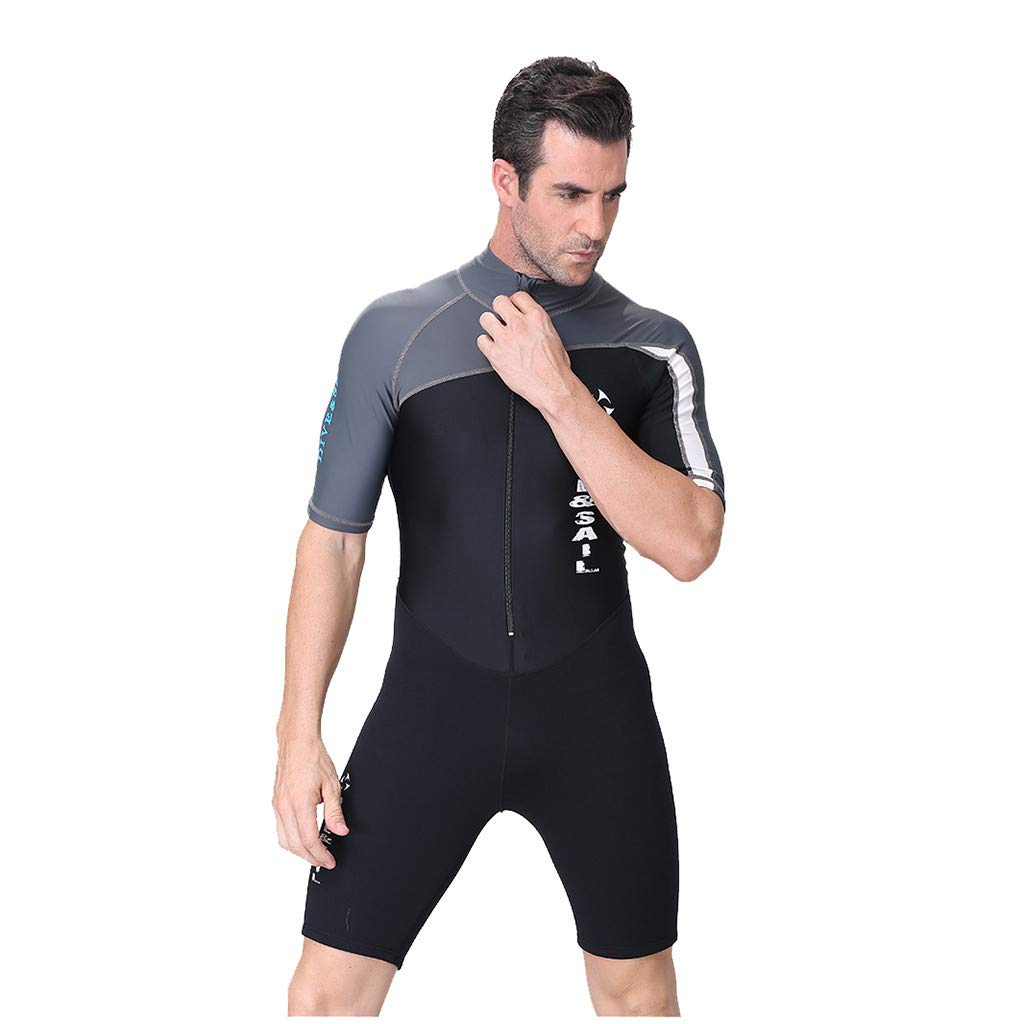 WUAI Mens Shorty Wetsuits,New Neoprene Back Zip Scuba Diving Suit Rash Guard One Piece Jumpsuit Swimwear(Grey,Large