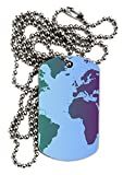 TOOLOUD Cool World Map Design Adult Dog Tag Chain Necklace
