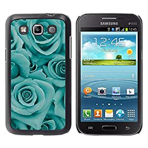 Planetar® ( Blue Roses Flowers Floral Petal Teal ) Samsung Galaxy Win / I8550 / I8552 / Grand Quattro Fundas Cover Cubre Hard Case Cover