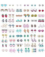 60 Pairs Stainless Steel Stud Earrings for Girls Women Cute Multiple Animal Fruit Flower Cute Earrings Set