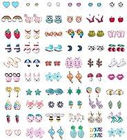 60 Pairs Stainless Steel Stud Earrings for Girls Women Cute Multiple Animal Fruit Flower Cute Earrings Set for