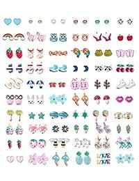 60 Pairs Stainless Steel Stud Earrings for Girls Women Cute Multiple Animal Fruit Flower Cute Earrings Set for Teen Girls Best Jewelry Gift