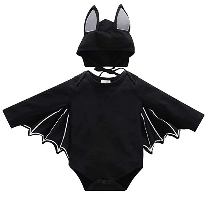 686f26c07 FAYALEQ Baby Boys Girls Halloween Cosplay Costume Bat Romper Long Sleeve  Tops Hat Outfit Size 6