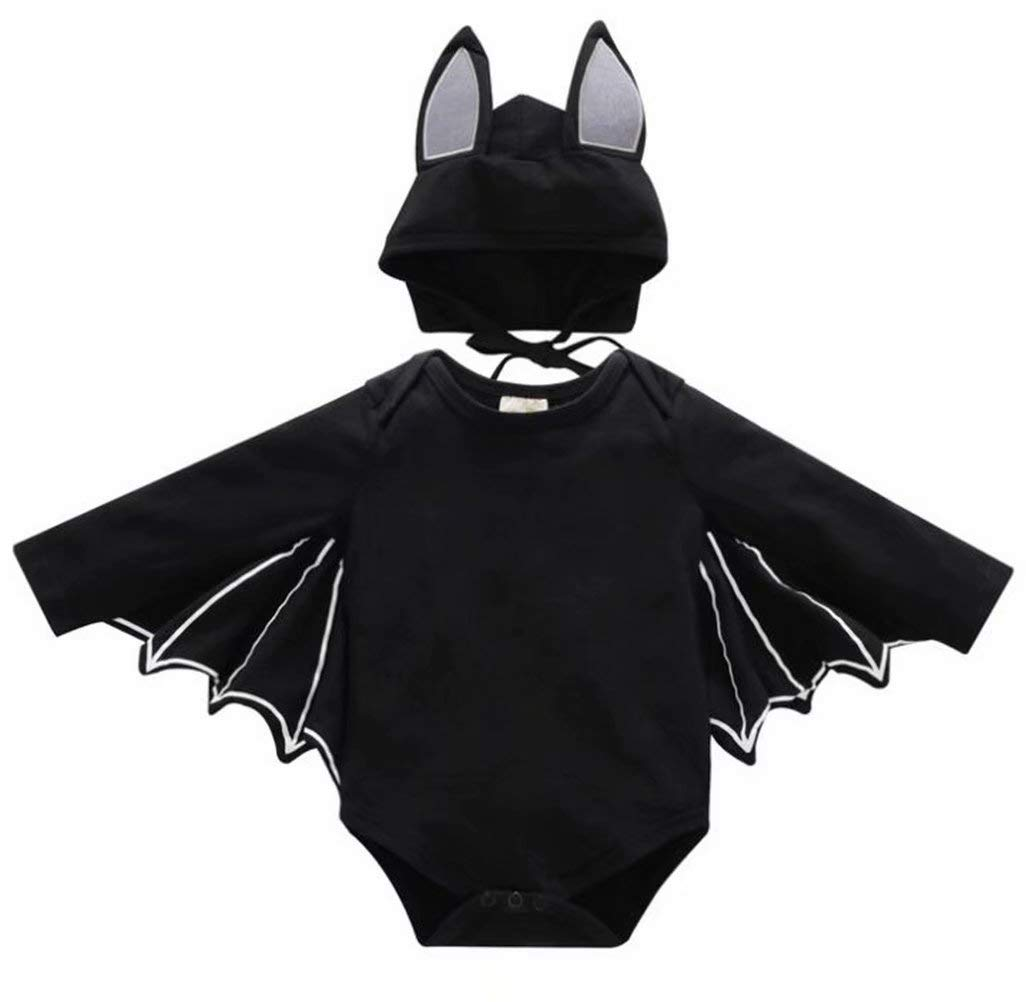 FAYALEQ Baby Boys Girls Halloween Cosplay Costume Bat Romper Long Sleeve Tops Hat Outfit Size 18-24 Months/Tag100 (Black)