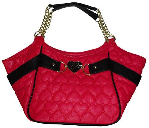Betsey Johnson Purse Handbag Be Mine Side Pocket Satchel Fuchsia