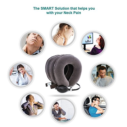 DaviSMART Cervical Neck Traction ✮ Effective Neck Pain Remedy at Home ✮ Inflatable & Adjustable Neck Stretcher Collar Device + Eye Mask Bonus (Grey) by DaviSMART (Image #3)