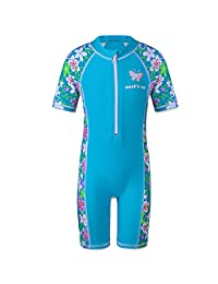 HUANQIUE Girls Kids Swimsuit Swimming Rash Guard One Piece