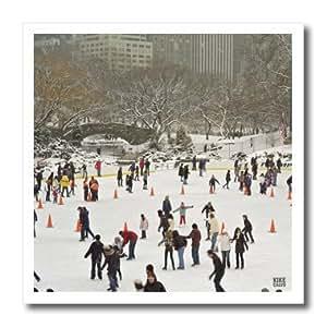 ht_10309_3 Kike Calvo New York - Snow blizzard in Central Park Manhattan New York City Ice Skate Ring - Iron on Heat Transfers - 10x10 Iron on Heat Transfer for White Material