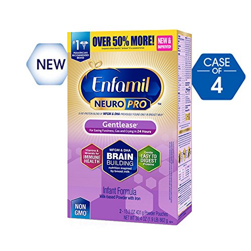 Enfamil NeuroPro Gentlease Infant Formula - Clinically Proven to reduce fussiness, gas, crying in 24 hours - Brain Building Nutrition Inspired by breast milk - Powder Refill Box, 30.4 oz (Pack of 4)