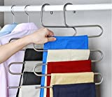Multi-Purpose 2-Pack Pants Hangers S-type Stainless Steel Trousers Rack 5 layers for Clothes/ Towel/ Scarf / Trousers/ Tie