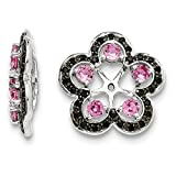 Sterling Silver Rhodium Crted Pink Sapphire & Black Sapphire Earring Jacket