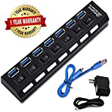 USB Hub, USB 3.0 Hub with Individual Power Switches and LEDs 7 USB Hub, USB Hub 3.0 with Power Supply Adapter Extension Cable Desk USB Splitter 3.0 for Laptop Computer PC Keyboard Mouse