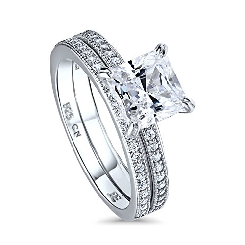 BERRICLE Rhodium Plated Sterling Silver Princess Cut Cubic Zirconia CZ Solitaire Engagement Wedding Ring Set 2.24 CTW Size 5.5