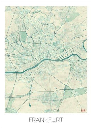 Holzbild 70 x 100 cm: Frankfurt am Main, Deutschland Karte Blau von Hubert Roguski