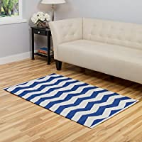 Harbormill 3 x 5 Ft. Royal Blue Chevron-Striped Area Rug