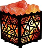 Crystal Decor Natural Himalayan Salt Lamp in Star Design Metal Basket with Dimmable Cord