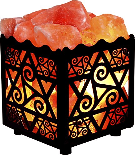 Crystal Decor Natural Himalayan Salt Lamp in Star Design Metal Basket with Dimmable Cord by CRYSTAL DECOR (Image #1)