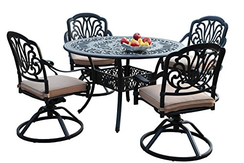 GrandPatioFurniture.com CBM Patio Elisabeth Collection Cast Aluminum 5 Piece Butterfly Dining Set with All Swivel Rockers SH214-4S CBM1290 ()