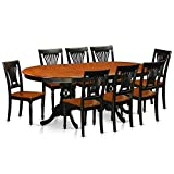 East West Furniture PLAI9-BLK-W 9 PC Dining Room Set for 8-Dining Table and 8 Chairs for Dining Room For Sale