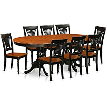 East West Furniture PLAI9 BLK W 9 Piece Dining Table Set
