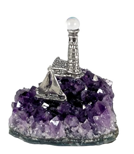 Pewter Sailboat and Lighthouse - Quality Amethyst Ocean (Pewter Sailboat)