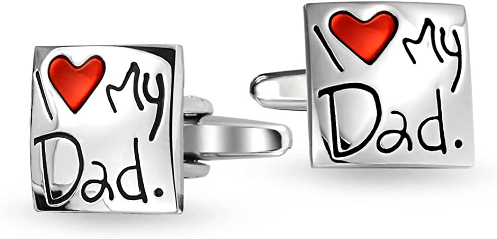Bling Jewelry I Love My Dad Red Heart Square Cuff Link for Men Shirt Cufflinks Gift for Father Daddy Steel Plated Brass Enamel