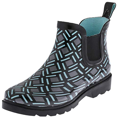 Capelli New York Ladies Minimalist Weave Printed Jodhpur Rain Boots Black Combo 6