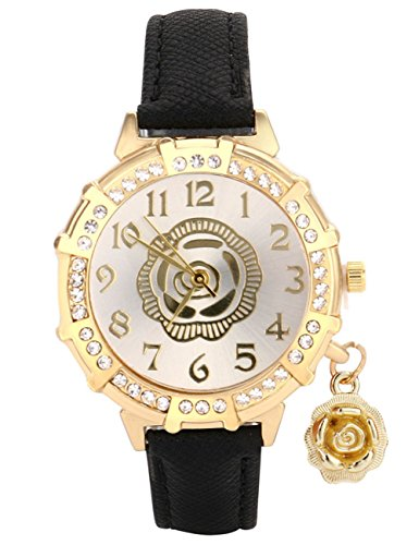 Womens Quartz Watches,COOKI Roses Pattern Analog Clearance Lady Watches Female watches on Sale Wrist Watches for Women Rhinestone Faux Leather Watch-A141 (black) (Rhinestone Ladies Wrist Watch)