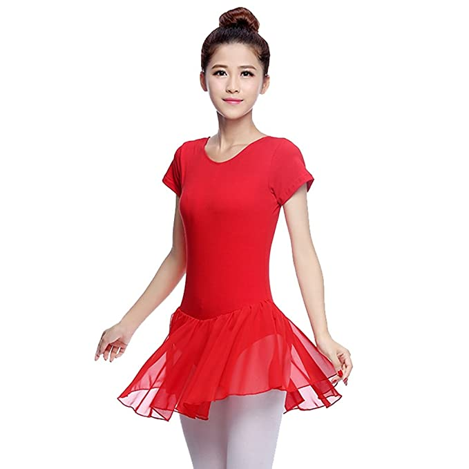 b23c2f89be6792 LINNUO Classica Vestito da Danza Tutu Body Danza Costume Maniche Corta Tulle  Balletto: Amazon.it: Abbigliamento