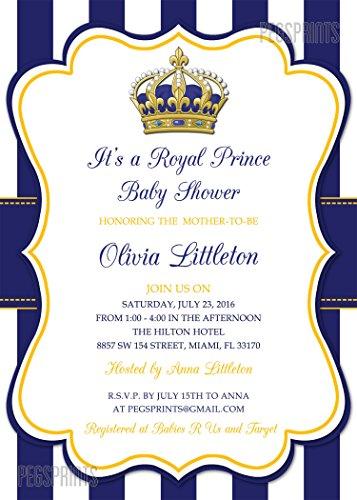 Amazon.com: Royal Prince Baby Shower Invitation   Prince Baby Shower  Invitations Boy   Royal Baby Shower   Gold Baby Shower Invitation   5x7:  Handmade