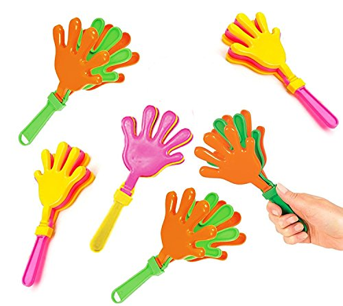 New Play Kreative Colorful Plastic Hand Clappers - Pack of 12 - Assorted Colors kids Hand Clapper Pa...
