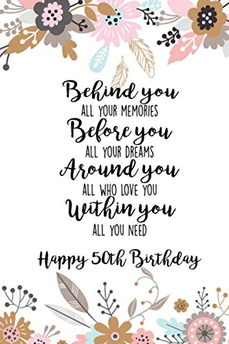 Behind You All Your Memories Before You All Your Dreams Around You All Who Love You Within You All you Need Happy 50th Birthday: Inspirational Blank ... for Friend or Coworker (Pink Pastel Floral)