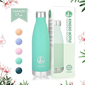 KINGSO Macaron-Color Stainless Steel Water Bottle, Double Wall Vacuum Insulated thermos, Sports Vacuum Flask, Keep Cold 24 Hours / Hot 12 Hours (Macaron Cyan (500ml))