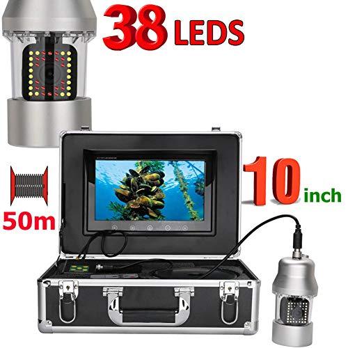 Professional Fish Finder, 10-inch PTZ 360-degree Rotating Underwater Camera, 50m IP68 Waterproof 38 LED Portable Underwater Fishing Camera