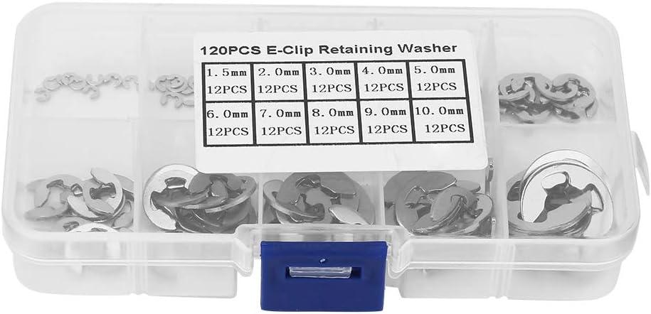 colore: argento 120Pcs Kit di assortimento di anelli elastici di sicurezza a clip in acciaio inossidabile 304 M1.5-M10 E Anello di sicurezza anelli elastici di sicurezza a clip