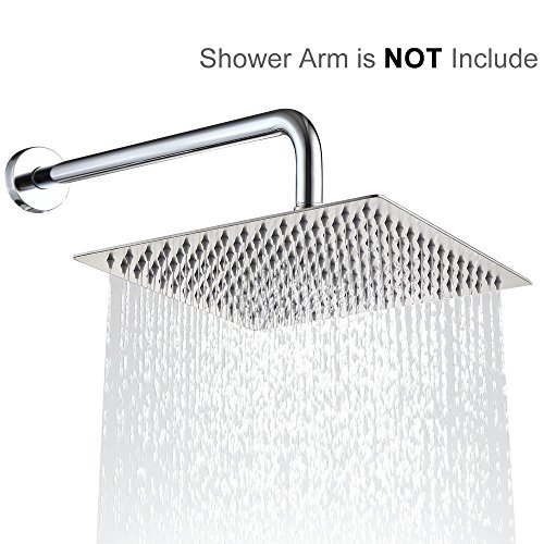 Rain Shower Head 12 Inch Large Square Ultra-Thin Adjustable Fixed Rainfall Showerhead, Waterfall Full Body Coverage Chrome Showerhead For the Best Relaxation and Spa
