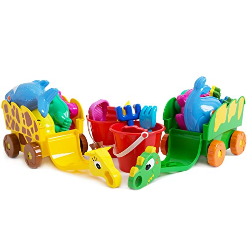 Boley 20 Piece Beach Wagon and Sand Mold Set - 2 Wagons, 2 Buckets, 4 Truck Sand Molds, 8 Animal Sand Molds, and 4 Sand Tools - This Huge Set Is Essential For Any Beach Outing (Wagon Set)