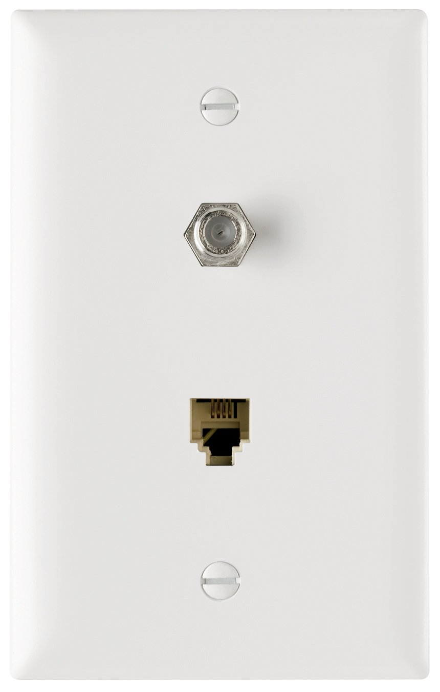 Pass Seymour Tpteltvwcc10 Coaxial Connector Wall Plate One Rj11 Leviton Ivory 1 To 5 Modular 4wire Phone Jack Converter Adapter C0261 And Cable Tv F White Electrical Distribution Plates Amazon