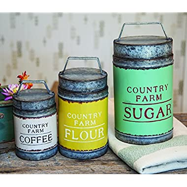 Country Farm Antique Finish Iron Canister Set of 3
