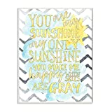 Stupell Home Décor You are My Sunshine Watercolors Chevron Wall Plaque Art, 10 x 0.5 x 15, Proudly Made in USA