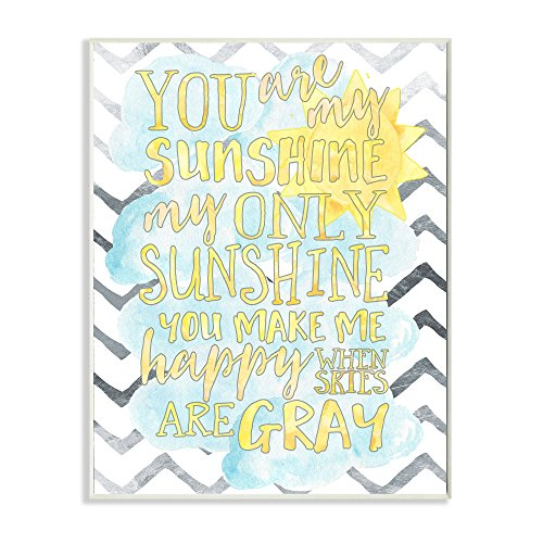 Stupell Home Décor You are My Sunshine Watercolors Chevron Wall Plaque Art, 10 x 0.5 x 15, Proudly Made in USA by The Kids Room by Stupell